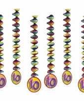 6x feestartikelen 10 jaar spiraal feestje