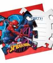 6x marvel spiderman themafeest uitnodigingen 7 cm feestje