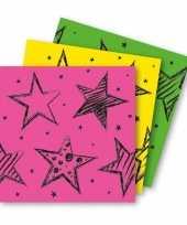 6x neon kleuren feest servetten 33 x 33 cm papier feestje