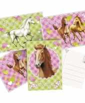 6x paarden themafeest uitnodigingen kaarten feestje