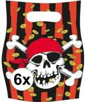 6x piraten themafeest feestzakjes uitdeelzakjes jolly roger feestje