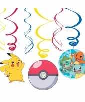 6x pokemon themafeest rotorspiralen hangdecoratie feestje