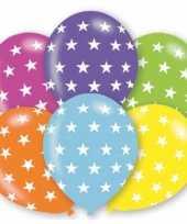6x stuks verjaardag feest ballonnen met sterren print feestje