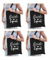 6x vrijgezellenfeest bride squad tasje zwart goodiebag dames feestje