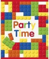 8x bouwstenen blokken thema feestzakjes uitdeelzakjes feestje