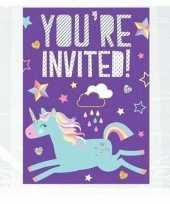 8x eenhoorn themafeest uitnodigingen kaarten feestje