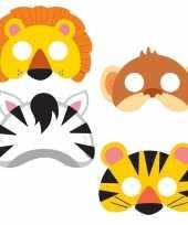8x jungle themafeest maskers voor kinderen feestje