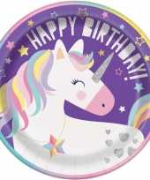 8x kinderfeest unicorn wegwerp bordjes feestje 10131587