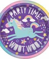 8x kinderfeest unicorn wegwerp bordjes feestje