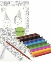8x knutsel papieren feesthoedjes om in te kleuren incl potloden feestje