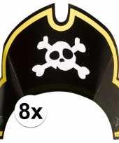 8x piraten themafeest feesthoedjes kapitein feestje