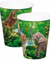 8x safari jungle themafeest bekertjes 250ml feestje