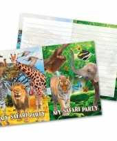 8x safari jungle themafeest uitnodigingen 27 cm feestje