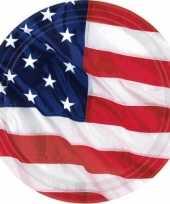 8x stuks amerika usa vlag thema feestbordjes 17 7 cm feestje
