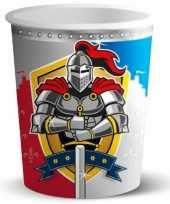 8x stuks ridder verjaardag thema feest bekers 250 ml feestje