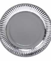8x zilveren feest borden van karton 23 cm feestje