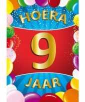 9 jaar mega deurposter 59 x 84 cm leeftijd verjaardag feestartikelen feestje