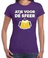 Atje voor de sfeer feest t-shirt paars voor dames feestje