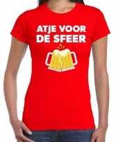 Atje voor de sfeer feest t-shirt rood voor dames feestje
