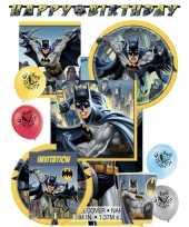 Batman themafeest kinderfeestje decoratie pakket 8 personen feestje