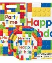 Bouwstenen thema kinderfeestje versiering pakket 2 8 personen feestje