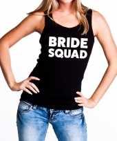 Bride squad vrijgezellenfeest tanktop mouwloos shirt zwart dam feestje