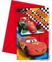 Cars themafeest uitnodigingen 6 stuks feestje