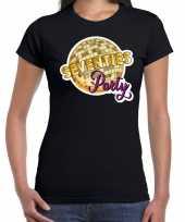 Disco seventies party feest t-shirt zwart voor dames feestje