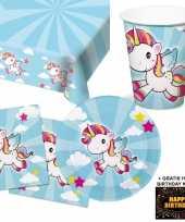 Eenhoorn kinderfeestje versiering tafel pakket 8 pers kaart feestje