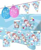 Eenhoorn thema kinderfeestje versiering pakket 2 8 personen feestje
