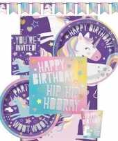 Eenhoorn themafeest kinderfeestje decoratie pakket 8 personen feestje