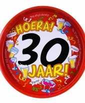 Feest metalen dienblad 30 jaar 30 cm feestje