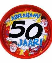Feest metalen dienblad 50 jaar abraham 30 cm feestje