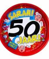 Feest metalen dienblad 50 jaar sarah 30 cm feestje