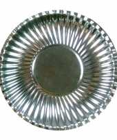 Feestartikelen borden metallic zilver 10 stuks feestje