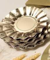 Feestartikelen diepe borden goud 21 cm feestje