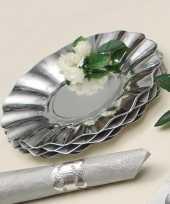Feestartikelen diepe borden zilver 21 cm feestje