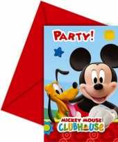 Feestartikelen mickey mouse uitnodigingen 6 stuks feestje