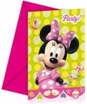 Feestartikelen minnie mouse uitnodigingen 6 stuks feestje