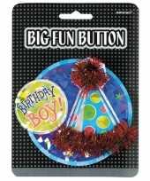 Feesthoedje verjaardag button boy feestje