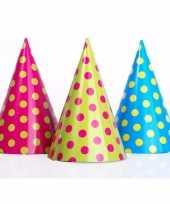 Feesthoedjes met stippen 12 stuks feestje