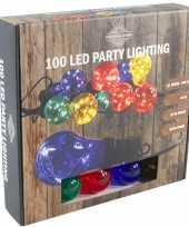Feestverlichting timer lichtsnoer met 10 gekleurde bolletjes feestje