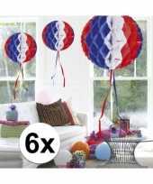 Feestversiering blauw wit rood decoratie bollen 30 cm set van 3 feestje 10121384