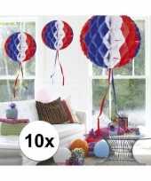 Feestversiering blauw wit rood decoratie bollen 30 cm set van 3 feestje 10121386