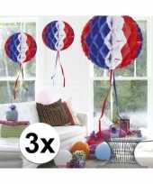 Feestversiering blauw wit rood decoratie bollen 30 cm set van 3 feestje
