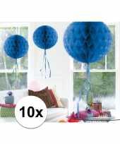 Feestversiering blauwe decoratie bollen 30 cm set van 3 feestje 10121256