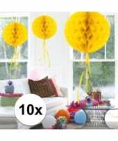 Feestversiering geel decoratie bollen 30 cm set van 3 feestje
