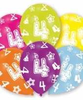 Feestversiering gekleurde ballonnen 4 jaar 6 stuks feestje