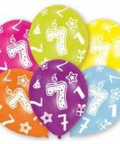 Feestversiering gekleurde ballonnen 7 jaar 6 stuks feestje