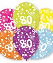 Feestversiering gekleurde ballonnen 80 jaar 6 stuks feestje